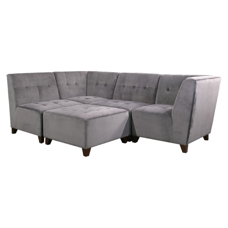 Abbyson Living Kailey 5 Piece Modular Sectional In Gray Prm Valerie Sctl