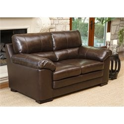Abbyson Living Torrena Top-Grain Leather Loveseat in Brown