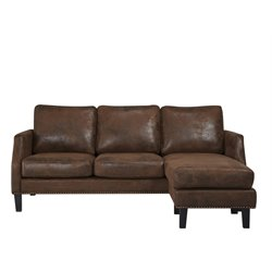 Abbyson Living Franklin Reversible Sectional in Dark Brown