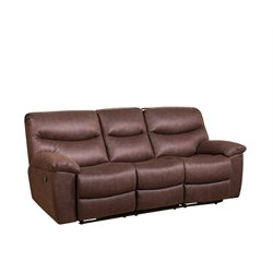 Abbyson Living Landon Reclining Sofa with Drop Down Console in Brown