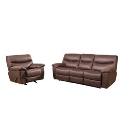 Abbyson Living Landon Reclining Sofa Set in Brown