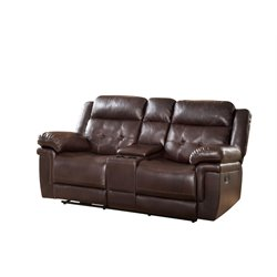 Abbyson Living Reclining Loveseat with Console in Brown