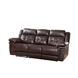 Abbyson Living Paulo Reclining Sofa with Drop Down Console in Brown