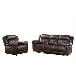 Abbyson Living Paulo 2 Piece Reclining Sofa Set in Brown