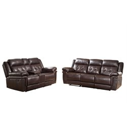 Abbyson Living Paulo Reclining Sofa Set in Brown