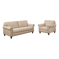 Abbyson Living Liza Sofa Set in Ivory