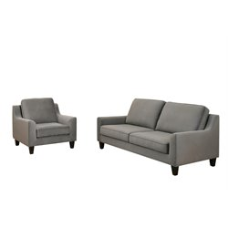 Abbyson Living Penton 2 Piece Sofa Set in Gray