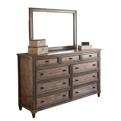 Abbyson Living Westley 9 Drawer Dresser with Mirror in Weathered Oak