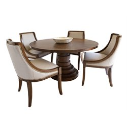 Abbyson Living Harper Round Dining Set in Acacia Brown-B