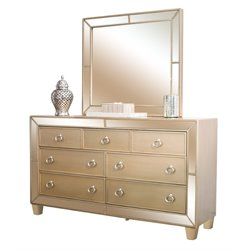 Abbyson Living Francesca 7 Drawer Dresser and Mirror Set in Gold