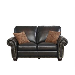 Abbyson Living Frances Bonded Leather Loveseat in Brown