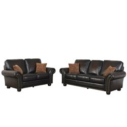 Abbyson Living Frances Bonded Leather Sofa Set in Brown-W