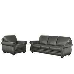 Abbyson Living Austin 2 Piece Leather Sofa Set in Gray