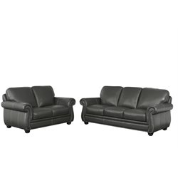 Abbyson Living Austin Leather Sofa Set in Gray-X
