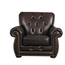 Abbyson Living Kaylee Tufted Leather Chair in Brown
