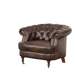 Abbyson Living Monty Leather Accent Chair with Casters in Brown