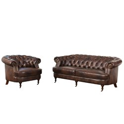 Abbyson Living Monty Leather Sofa Set in Brown-Z