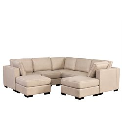 Abbyson Living Harper 7 Piece Sectional in Cream