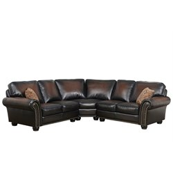 Abbyson Living Jamie Leather 3 Piece Sectional in Brown