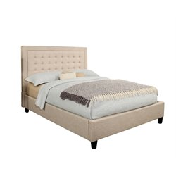 Abbyson Living Cyrus Upholstered Platform Bed in Cream-D