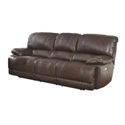 Abbyson Living Aspen Leather Power Reclining Sofa in Brown