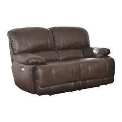 Abbyson Living Aspen Leather Power Reclining Loveseat in Brown