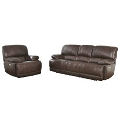 Abbyson Living Aspen 2 Piece Leather Power Reclining Sofa Set