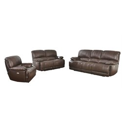Abbyson Living Aspen 3 Piece Leather Power Reclining Sofa Set