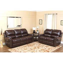 Abbyson Living Hogan Leather Reclining 2 Piece Sofa Set