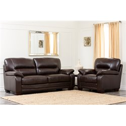 Abbyson Living Bern 2 Piece Leather Sofa Set in Brown