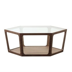 Abbyson Living Newbury Glass Coffee Table in Walnut
