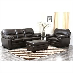 Abbyson Living Lalia 3 Piece Leather Sofa Set in Dark Truffle