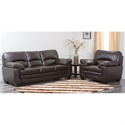 Abbyson Living Lalia 2 Piece Leather Sofa Set in Dark Truffle