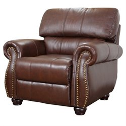 Abbyson Living Lea-Lee Leather Arm Chair in Brown