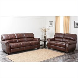 Abbyson Living Lea-Lee 2 Piece Leather Sofa Set in Burgundy