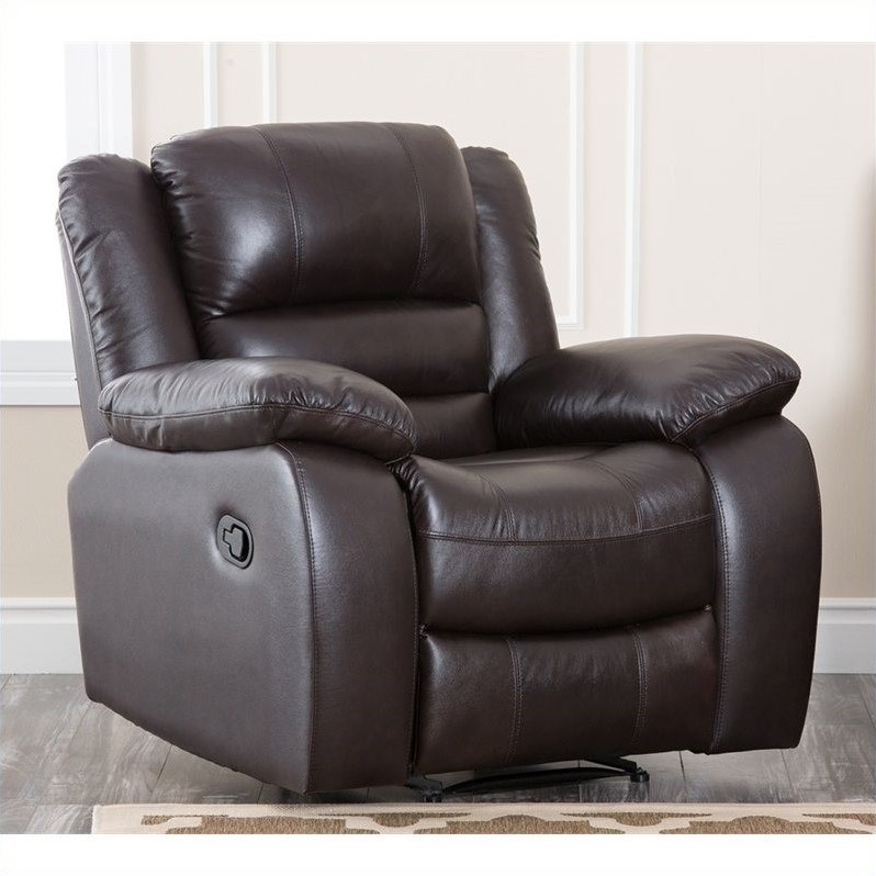 Abbyson living levari leather recliner in dark truffle for Abbyson living sedona leather chaise recliner