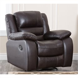 Abbyson Living Levari Leather Recliner in Dark Truffle