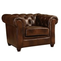 Abbyson Living Arcadian Leather Arm Chair in Brown