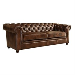 Abbyson Living Foyer Leather Sofa in Brown