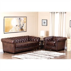 Abbyson Living Foyer Leather Sofa Set