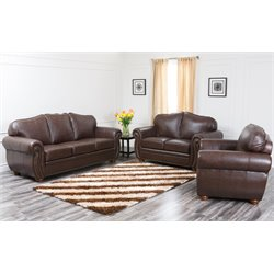 Abbyson Living Pearla 3 Piece Leather Sofa Set in Dark Truffle