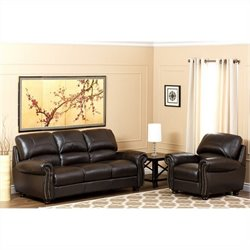 Abbyson Living Berneen 2 Piece Leather Sofa Set in Dark Truffle