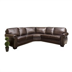 Abbyson Living Arizona 3 Piece Leather Sectional Sofa in Dark Truffle