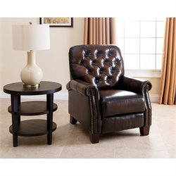 Abbyson Living Amden Leather Recliner in Brown