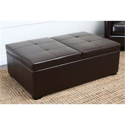 Abbyson Living Havington Leather Storage Ottoman Bench in Dark Truffle