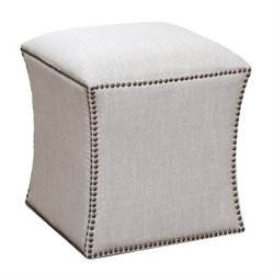 Abbyson Living Waverly Square Tufted Nailhead Ottoman in Cream