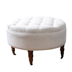 Abbyson Living Clendon Round Tufted Ottoman in White