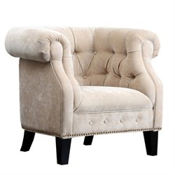 Abbyson Living Camber Fabric Tufted Arm Chair in Ivory