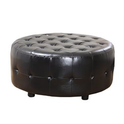 Bentley Bonded Leather Cocktail Ottoman in Black
