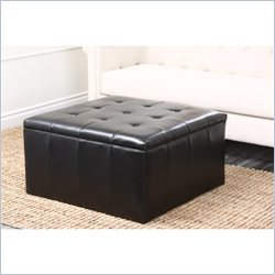 Abbyson Living Noel Wood and Leather Ottoman in Dark Truffle